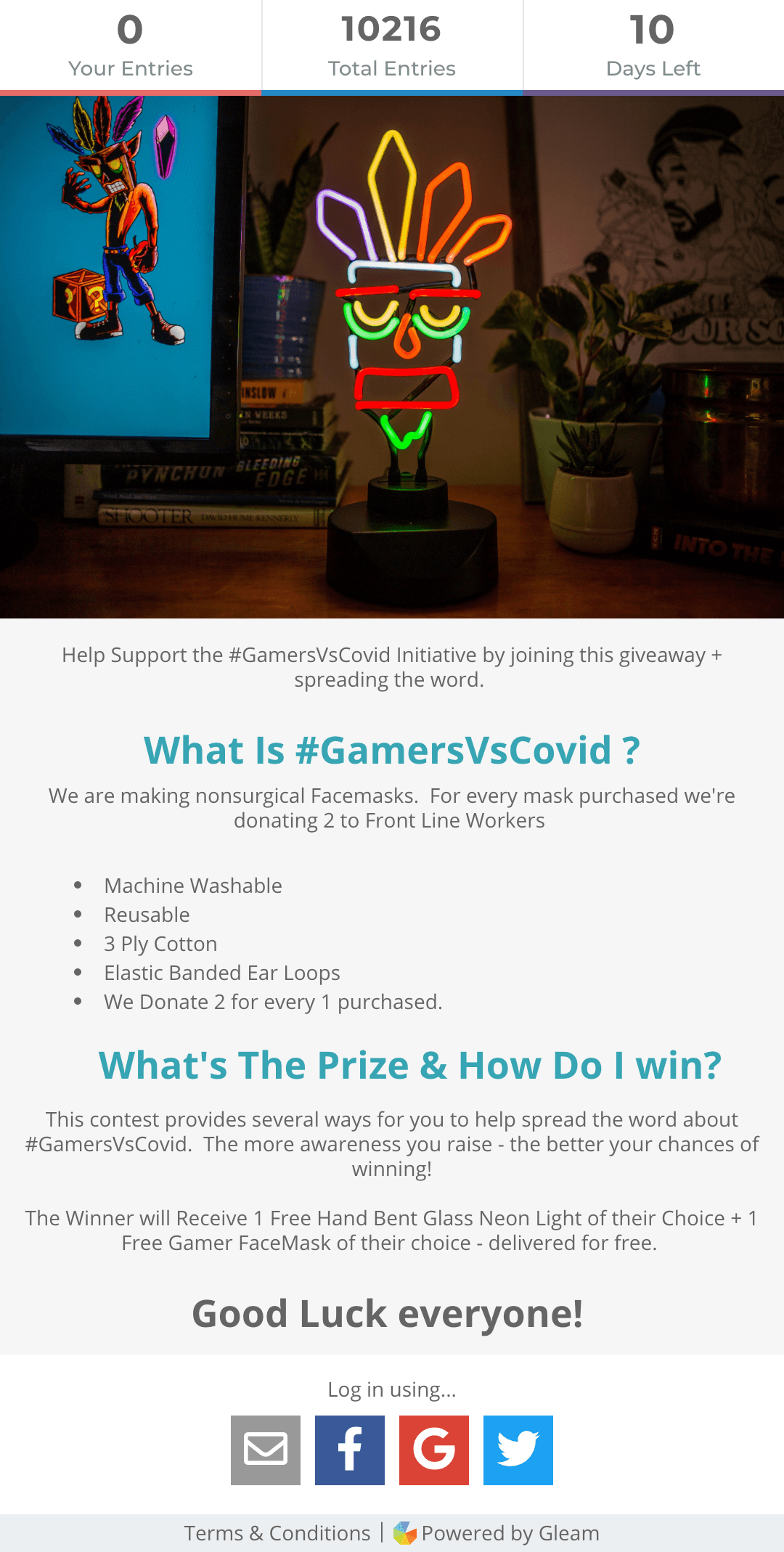Fanfit Gaming's #GamersvsCovid giveaway campaign