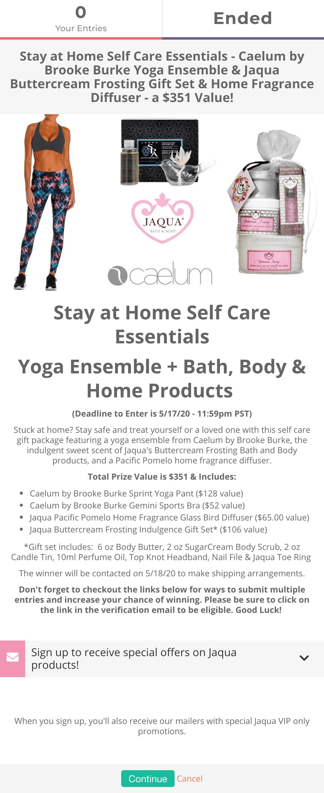 Stay At Home Self-Care giveaway campaign