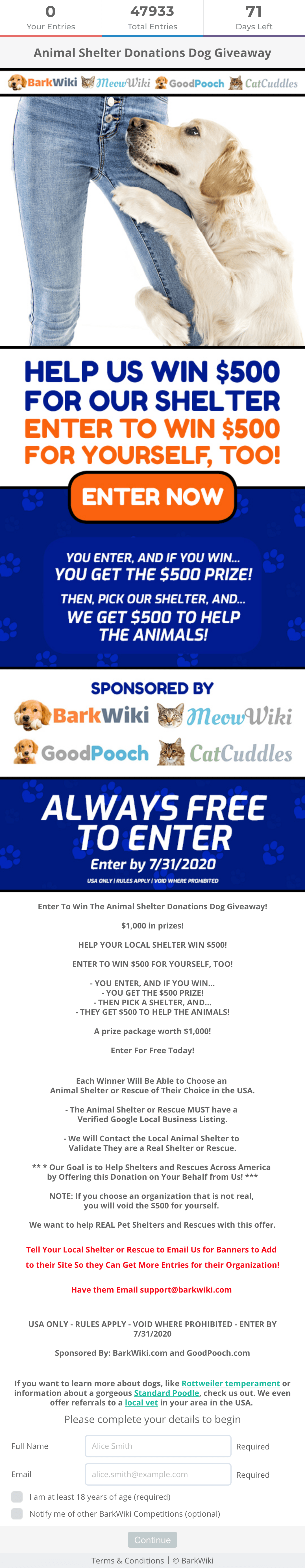 BarkWiki's Animal Shelter Donation giveaway campaign