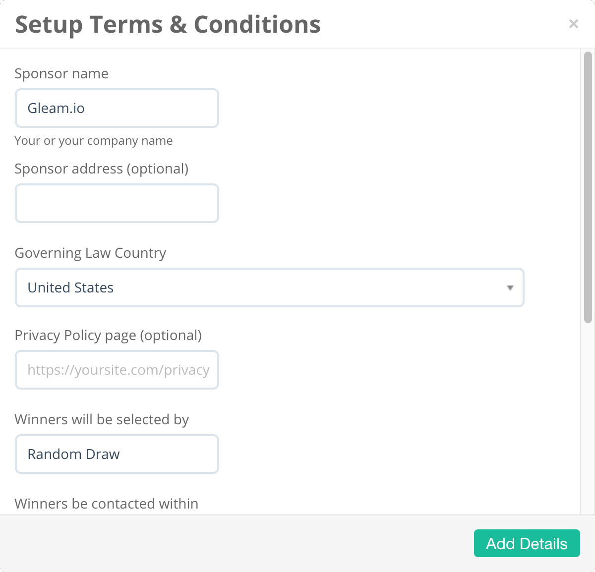 Optional fields to enhance your automatically generated terms & conditions on Gleam campaigns