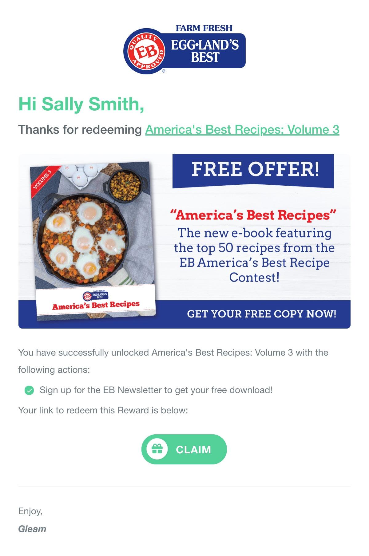 Gleam Link Rewards in Email