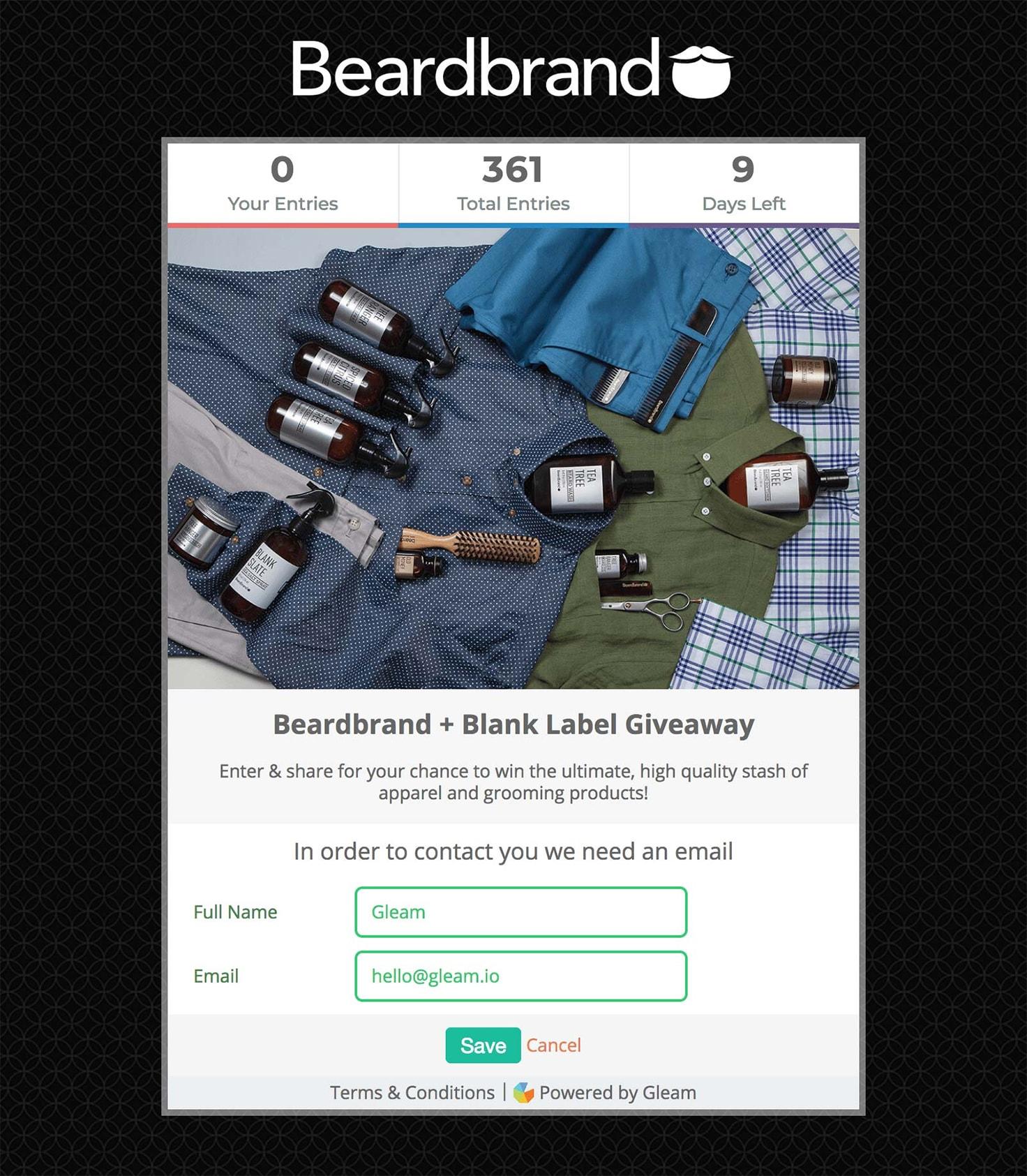 Beardbrand's branding for a Gleam campaign landing page