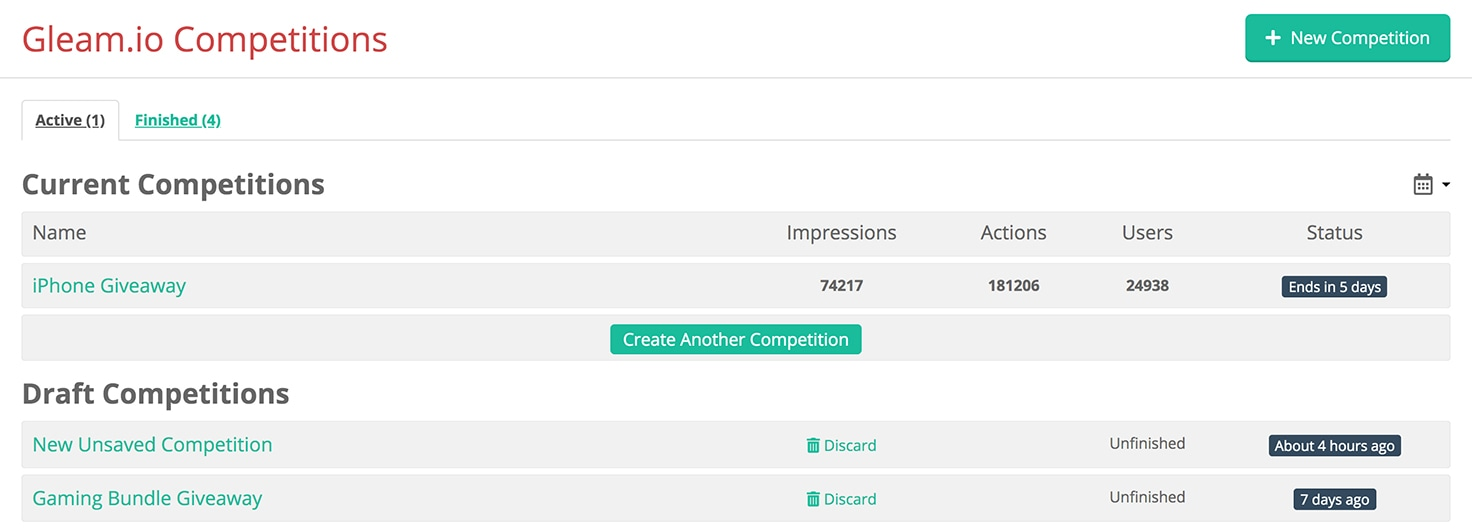Competitions dashboard showing active & draft campaigns