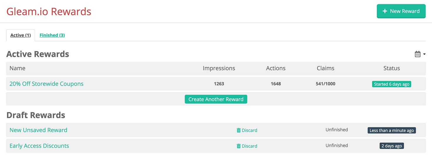 Rewards dashboard showing active & draft campaigns