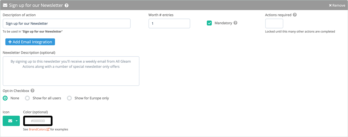 Check 'Mandatory' option in the Subscribe to a Newsletter action