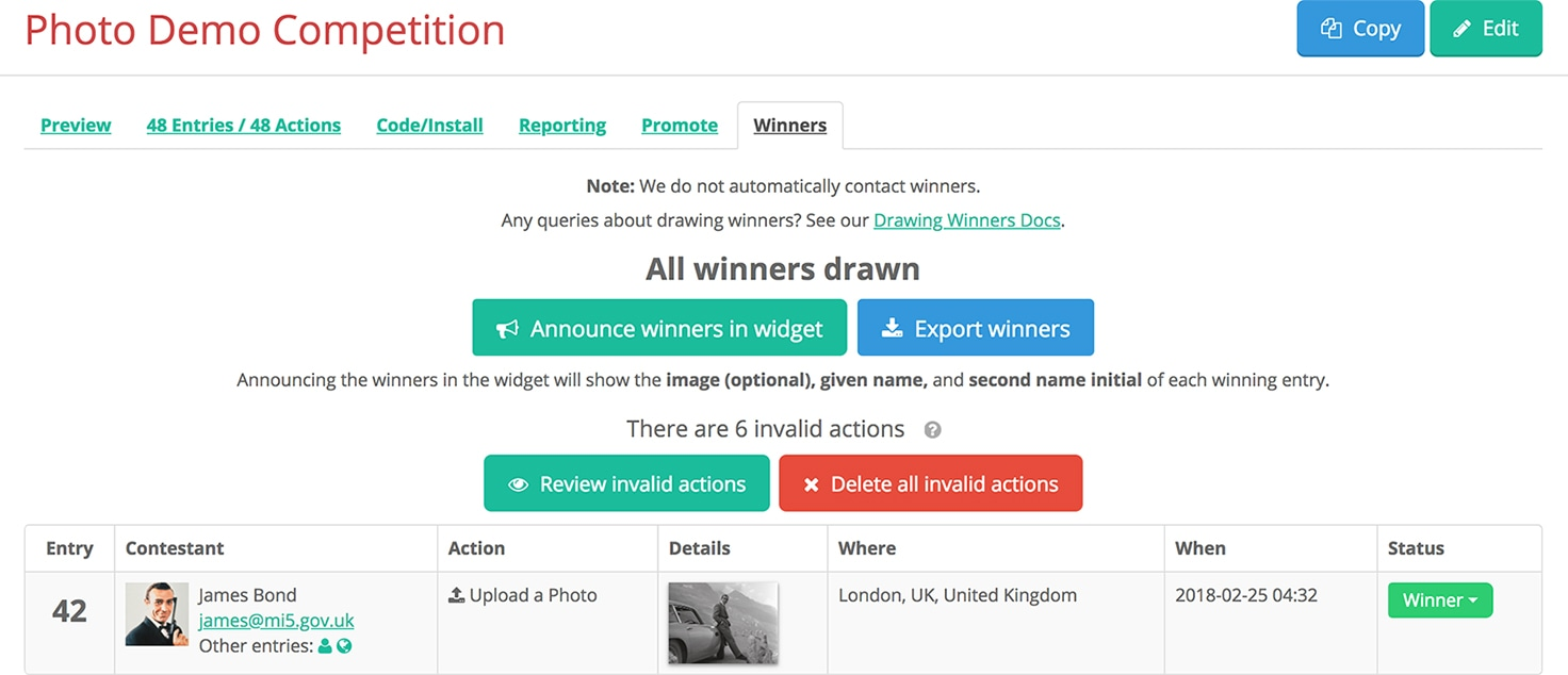 Winners tab on the Gleam Competitions dashboard