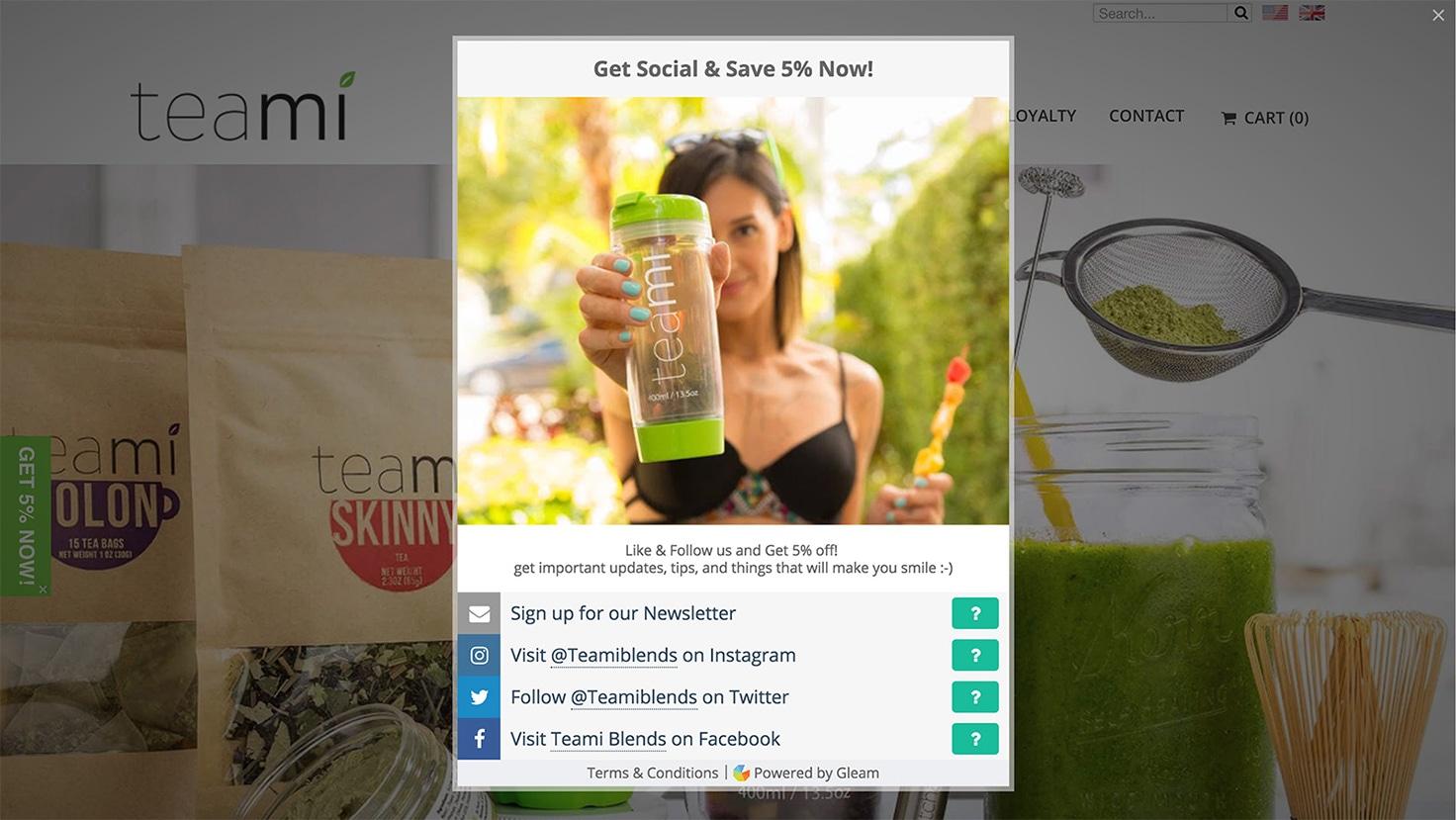 Gleam Rewards tab being opened in Teami Blend's website