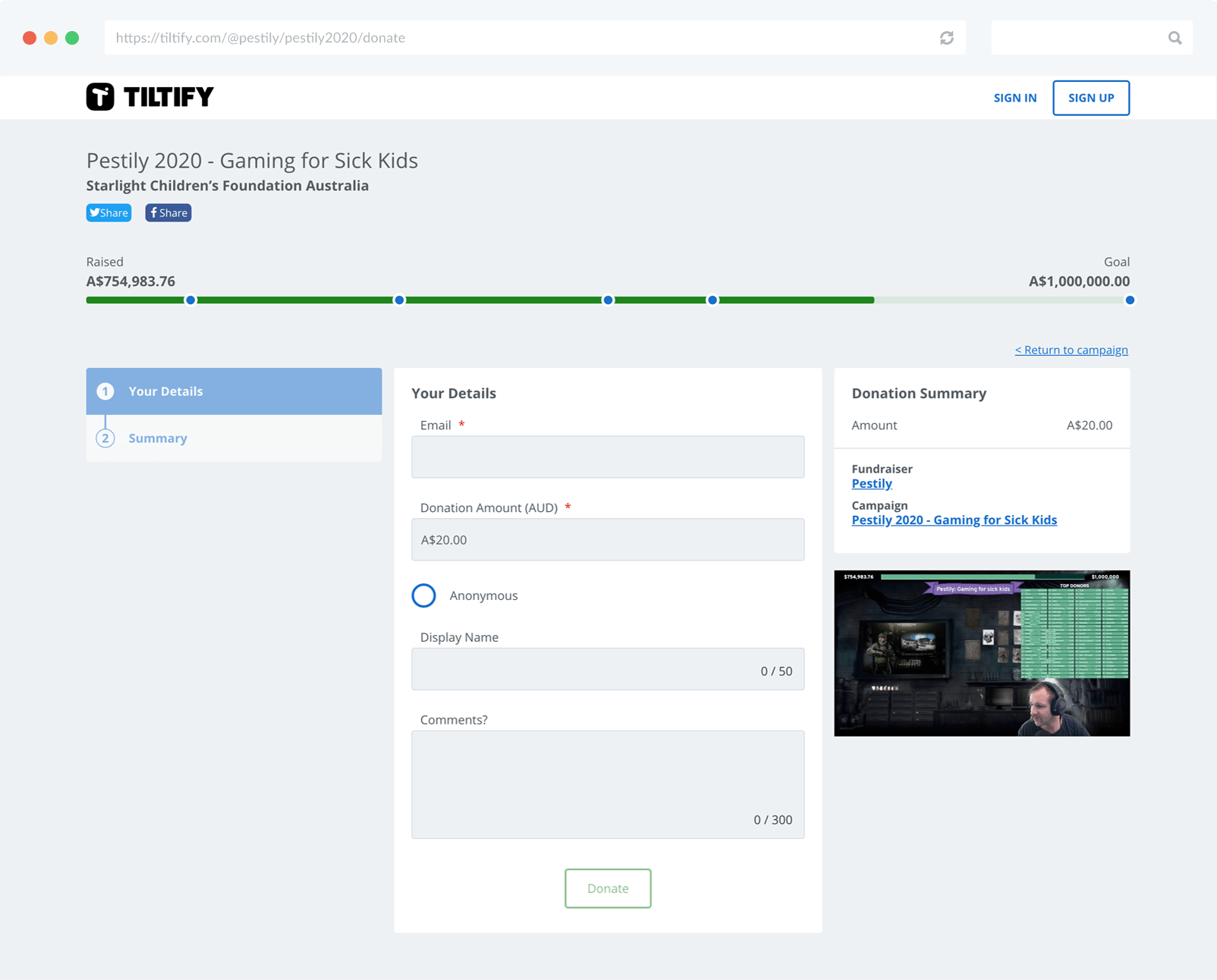 Pestily's 1M donation campaign on Tiltify