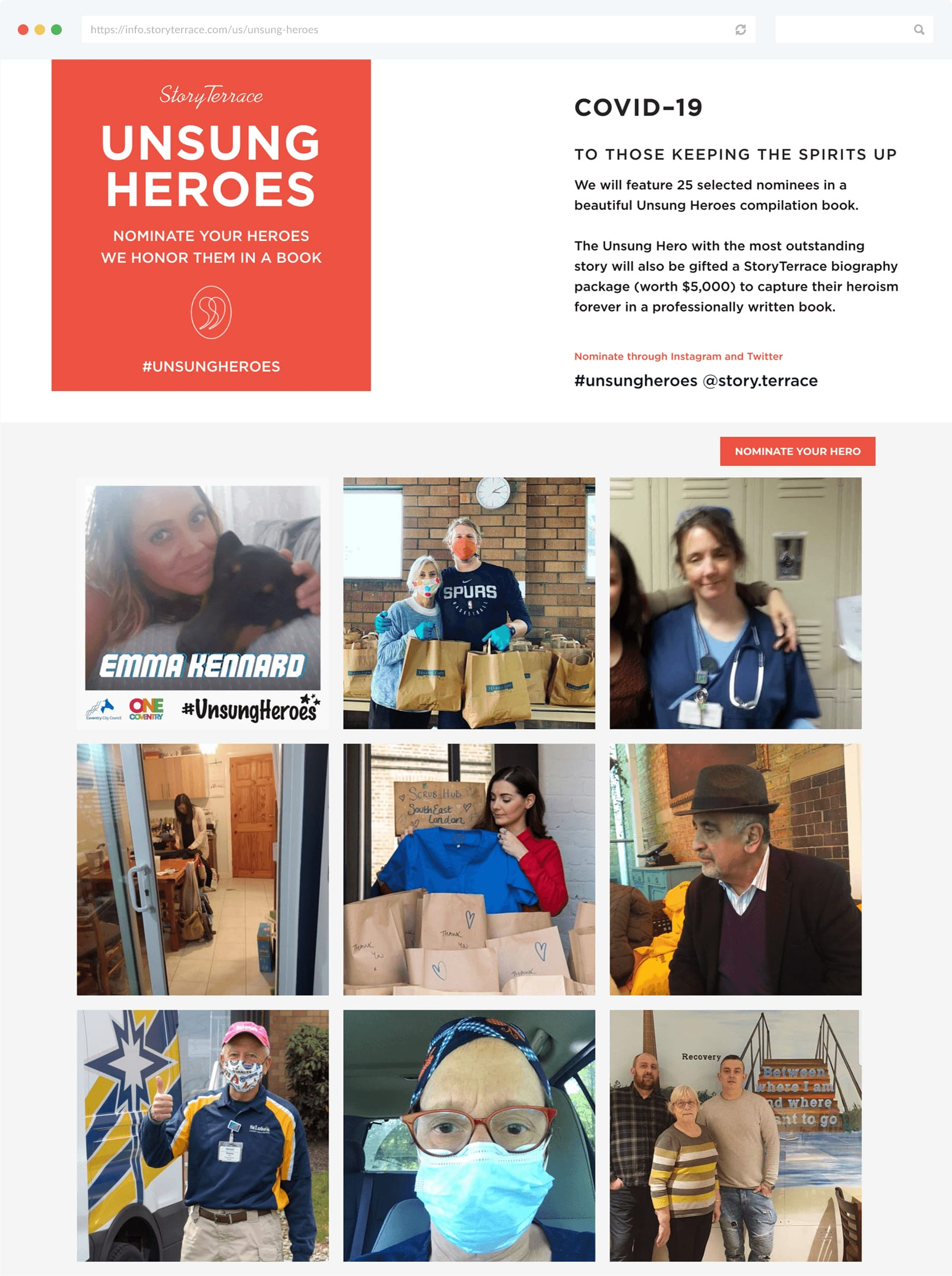 StoryTerrace's Unsung Heroes campaign landing page with photo gallery