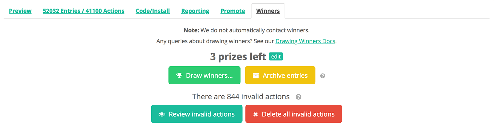Drawing Random & Daily Winners For a Competition