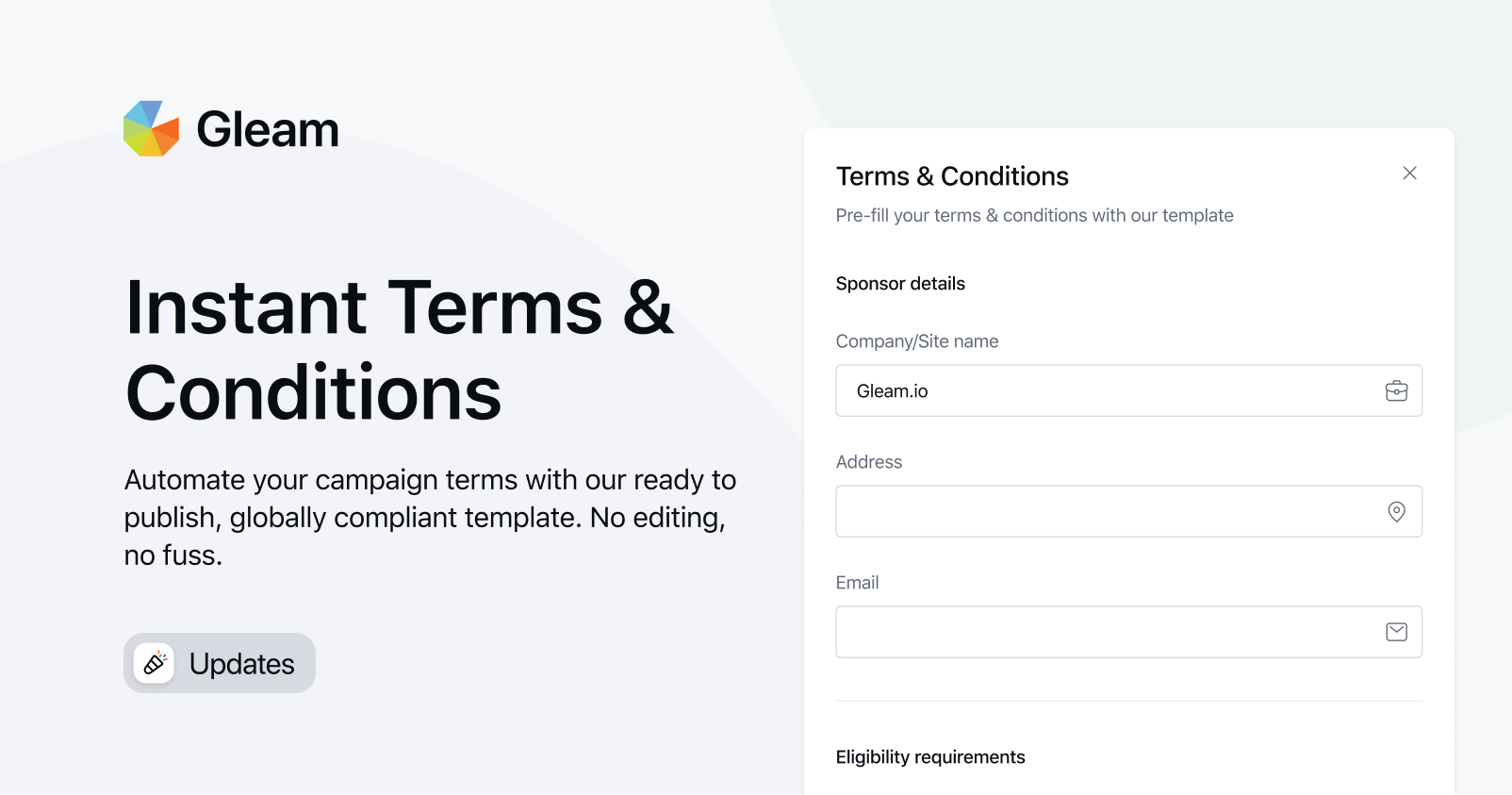 Gleam introduces instant Terms & Conditions feature