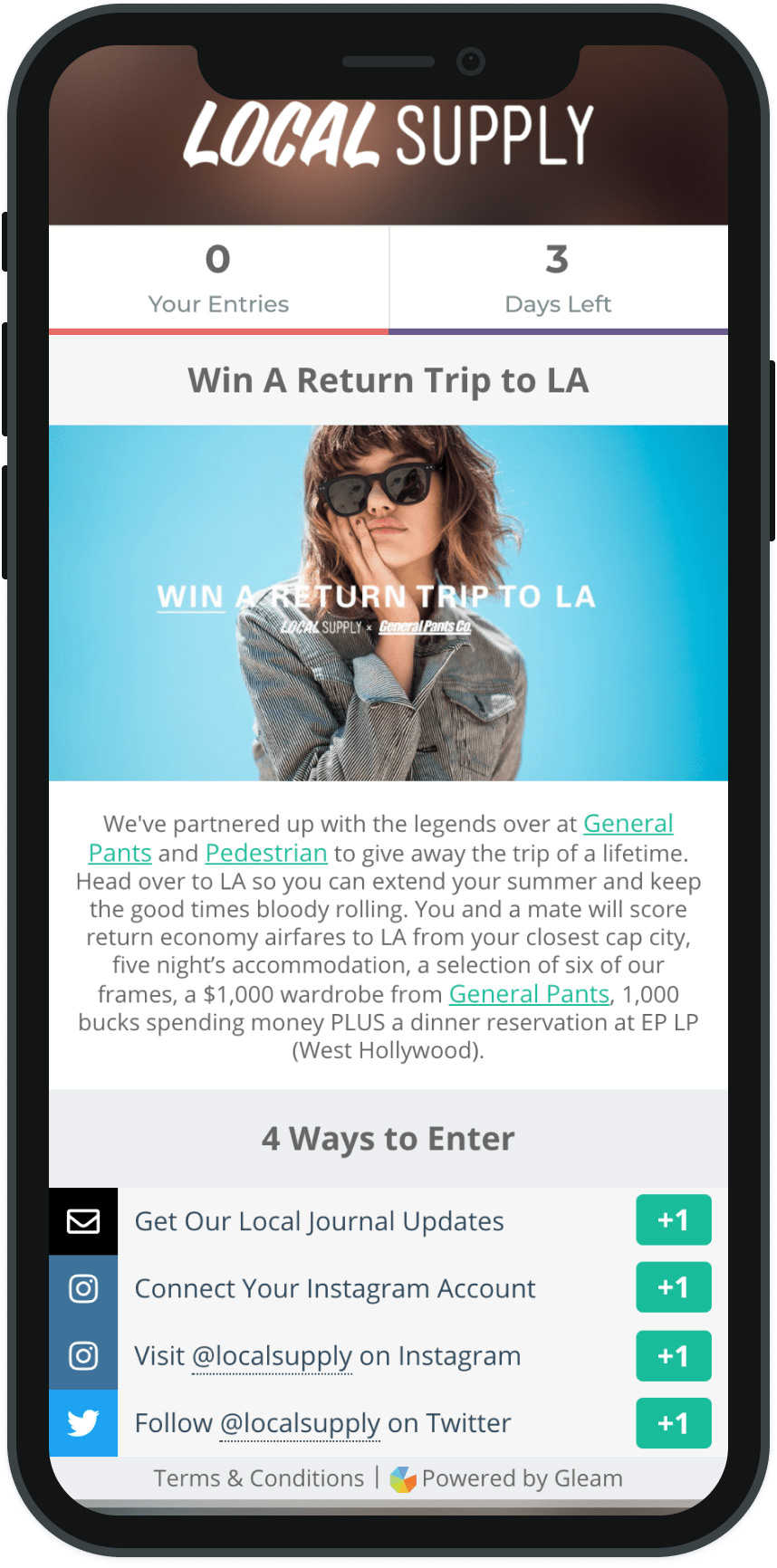 Gleam campaign landing page viewed on a mobile device