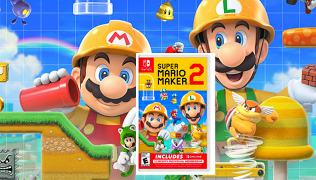 Enter to win a copy of Super Mario Maker 2 Limited Edition for the Nintendo Switch, valued at $80. Giveaway Image