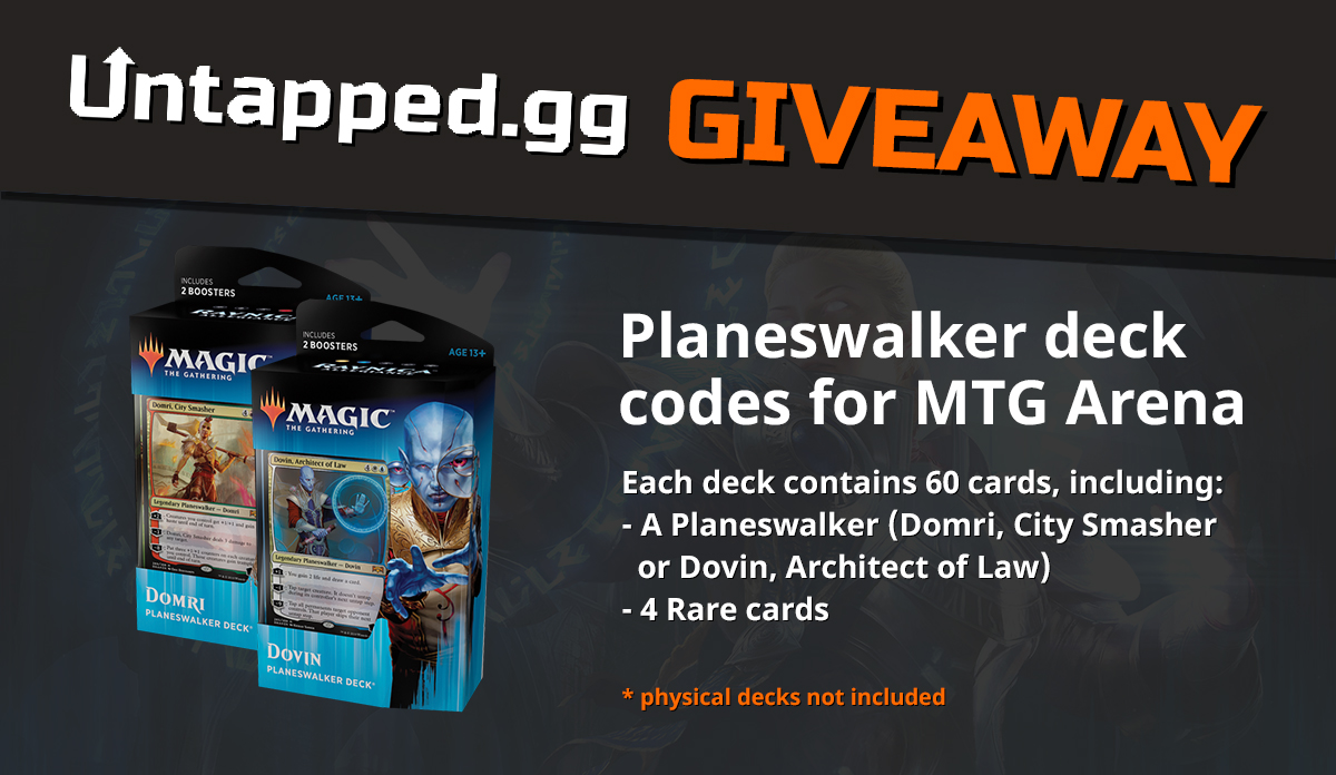 Enter for a chance to win 1 of 2 Ravnica Allegiance's Planeswalker Decks for MTG Arena. There will be 60 virtual non-physical cards in each deck. Giveaway Image