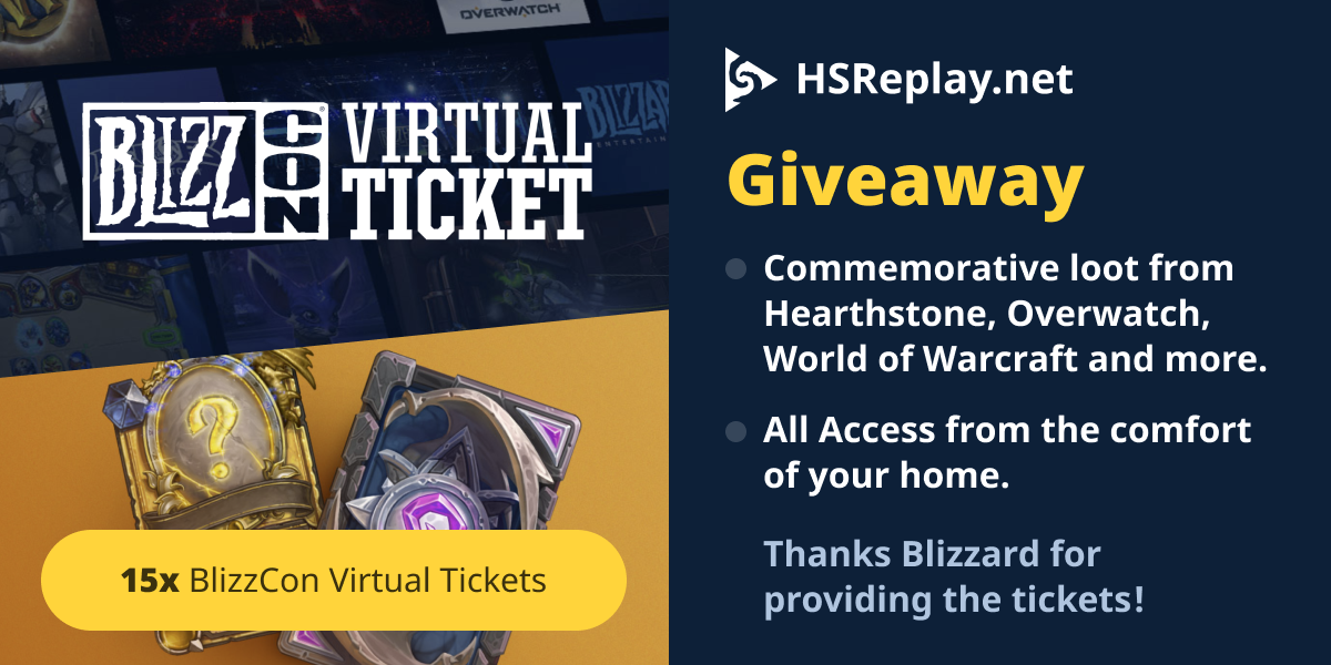 Hsreplay.net Giveaway - Blizzcon Virtual Tickets