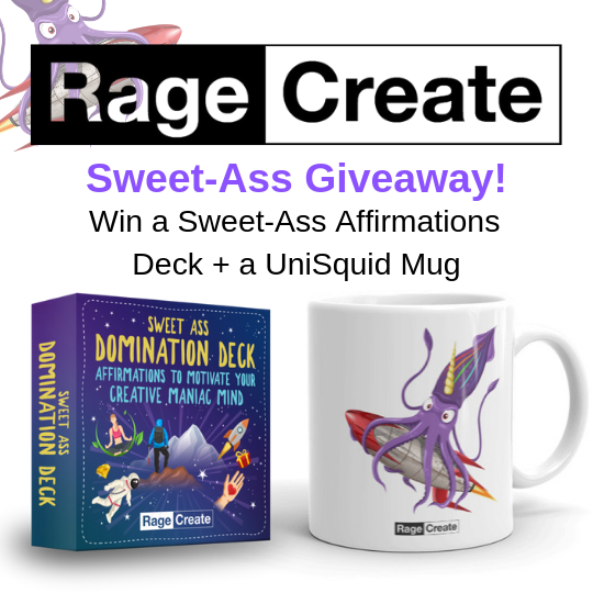 Enter for a chance to win a Sweet-Ass Affirmations Deck with 60 witty motivational cards and a UniSquid Mug Giveaway Image