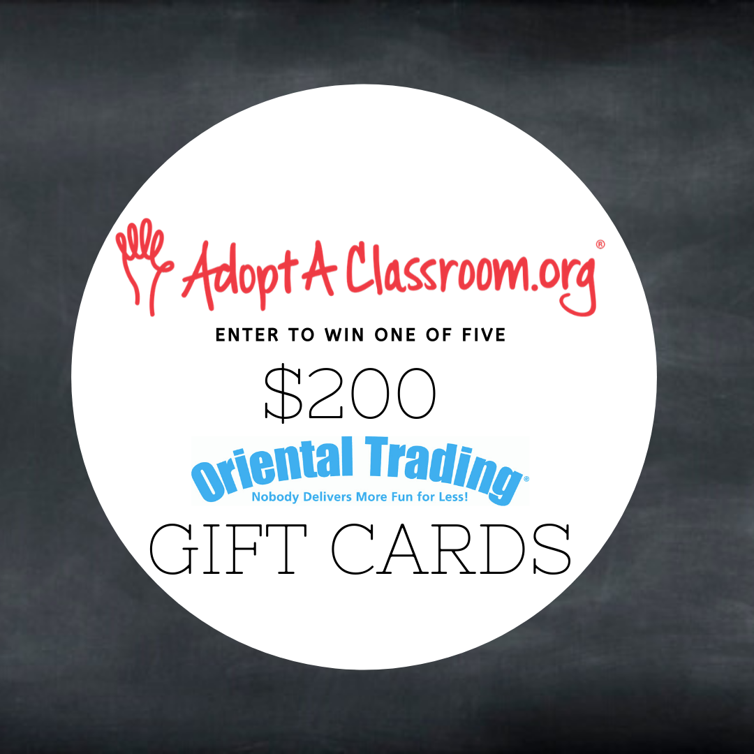 Enter to win a $200 Oriental Trading Gift Card from AdoptAClassroom.org ~ 5 Winners! Giveaway Image