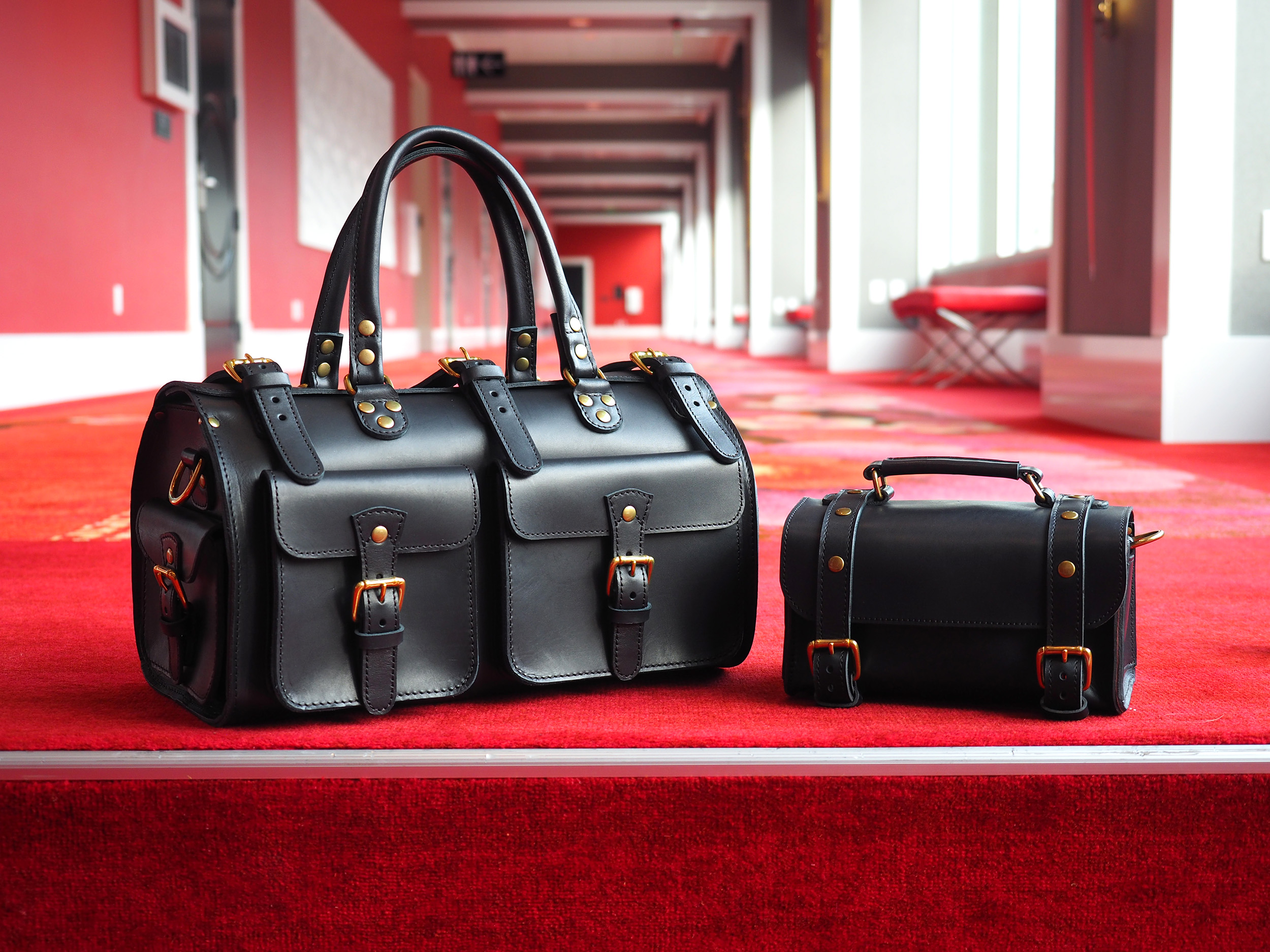 Marlondo Leather Spring Break Travel Gear Set - Black Veg Tan Leather Duffel Bag and Dopp Kit