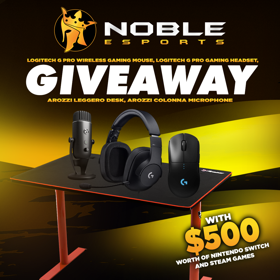 Win an Arozzi Gaming Desk, Colonna Mic, Logitech G Pro Peripherals, & $500 Worth Of Nintendo And Steam Games Giveaway Image