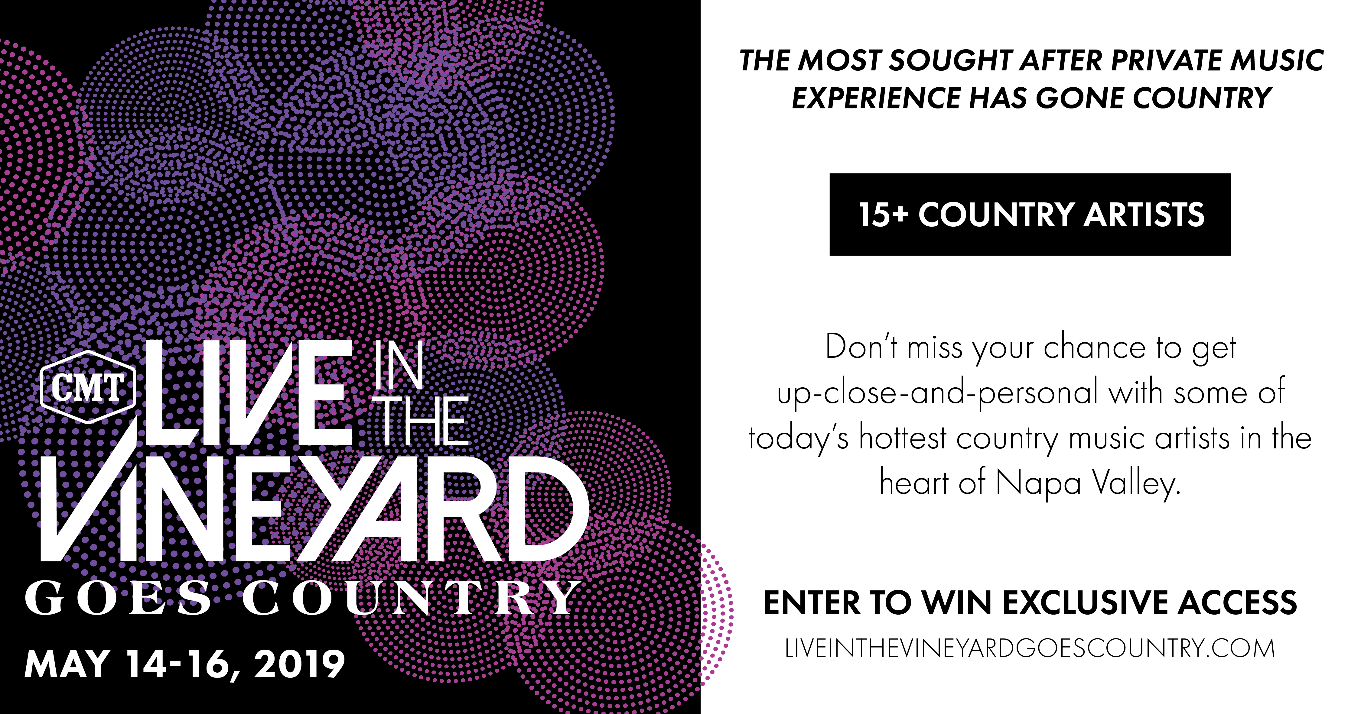 2019 Live in the Vineyard Goes Country Concert - Win a trip to Napa. Ca Giveaway Image