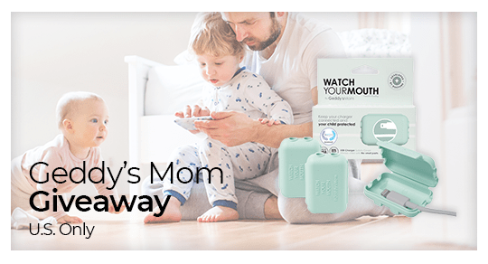 Enter to win 12 packages of Geddy's Mom's Watch Your Mouth. Watch Your Mouth is a Child-Safe USB Charger Safety Cover, Baby Proofing Power Outlet Cover, Toddler Safety Device, and Electrical Protector. $155 Value. Giveaway Image