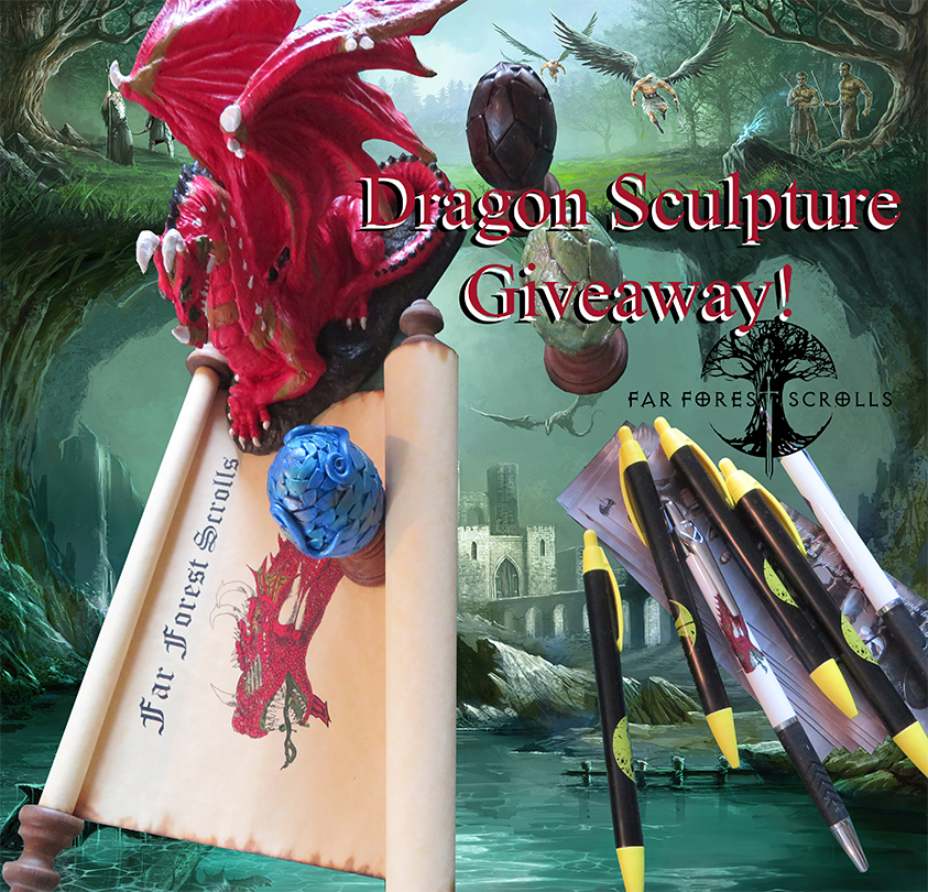 Enter for a chance to win a Red Saatana Dragon Sculpture, Dragon's Egg and your own scroll from Far Forest Scrolls fantasy book series! 4 Winners! Giveaway Image