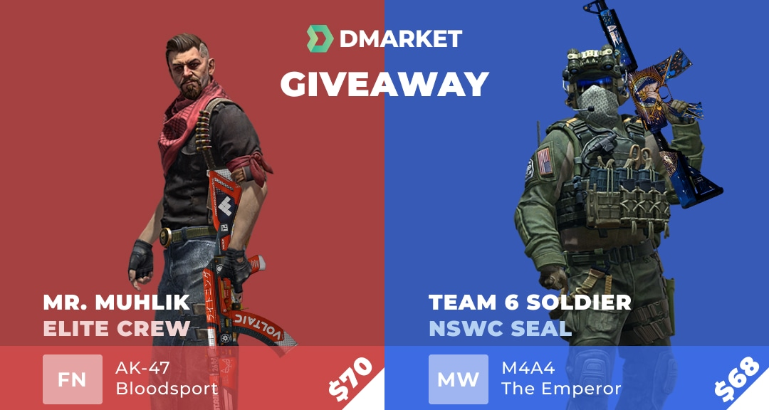Csgo skins, 1 winner win a Red side? - $70 The Elite Mr. Muhlik | Elite Crew + AK-47 | Bloodsport (Factory New) other winner win a Blue side? - $68 Seal Team 6 Soldier | NSWC SEAL + M4A4 | The Emperor (Minimal Wear) Giveaway Image