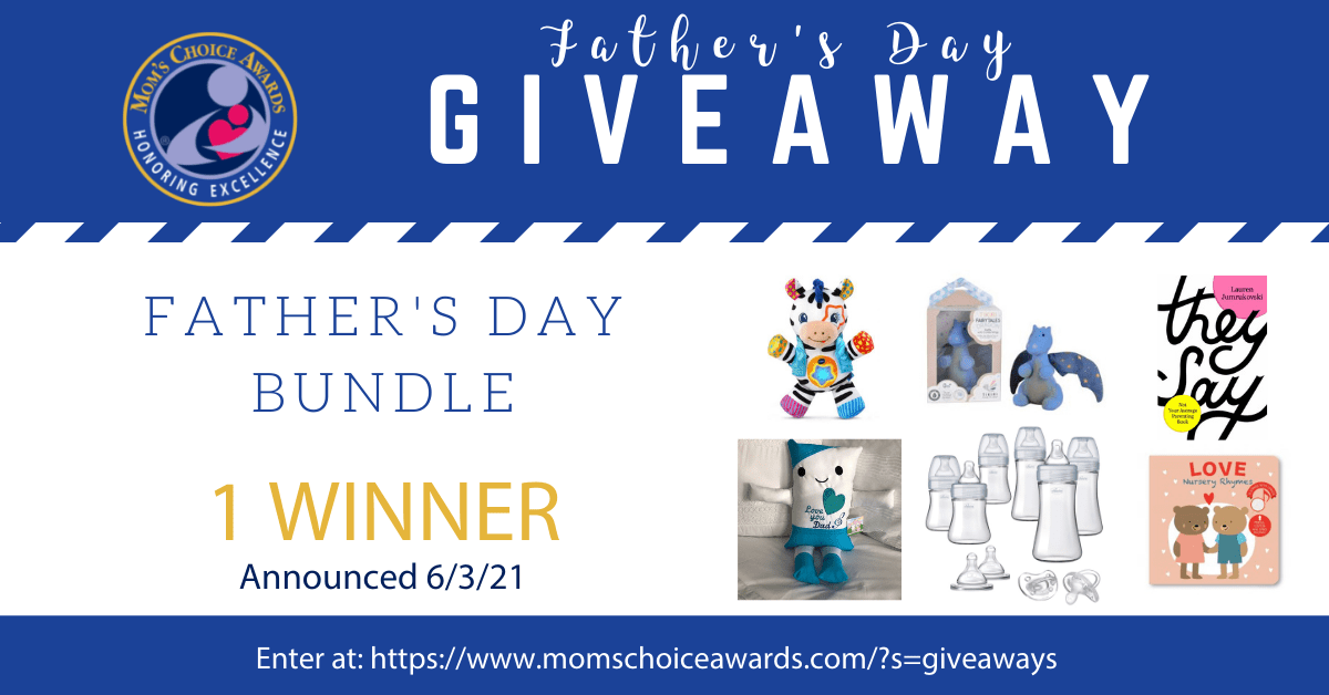 Enter to win the Father's Day Bundle that includes items like Chicco Duo Deluxe Baby Bottle Gift Set, Vtech Lights & Stripes Zebra, JJ Pillow, and more. Valued at over $125. Giveaway Image