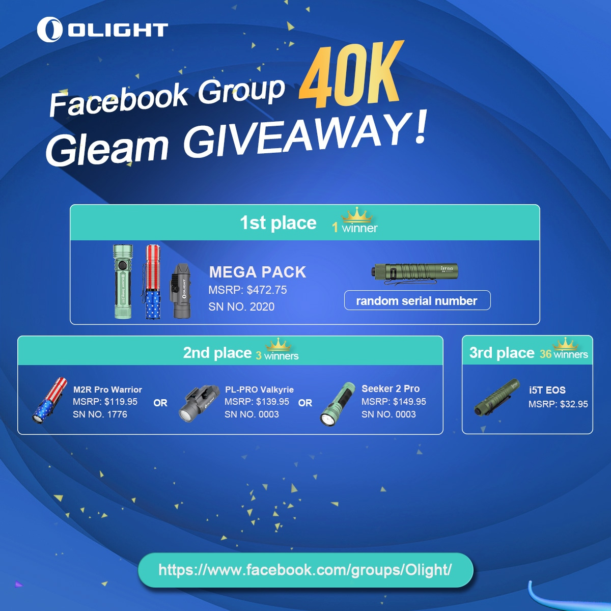 Olight Flashlight Group Giveaway - 40 Winners Giveaway Image