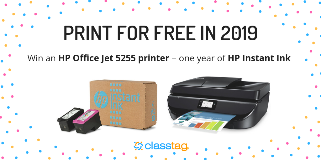 Win an HP Office Jet Pro 5255 Printer AND a 1-year HP Instant Ink subscription Giveaway Image