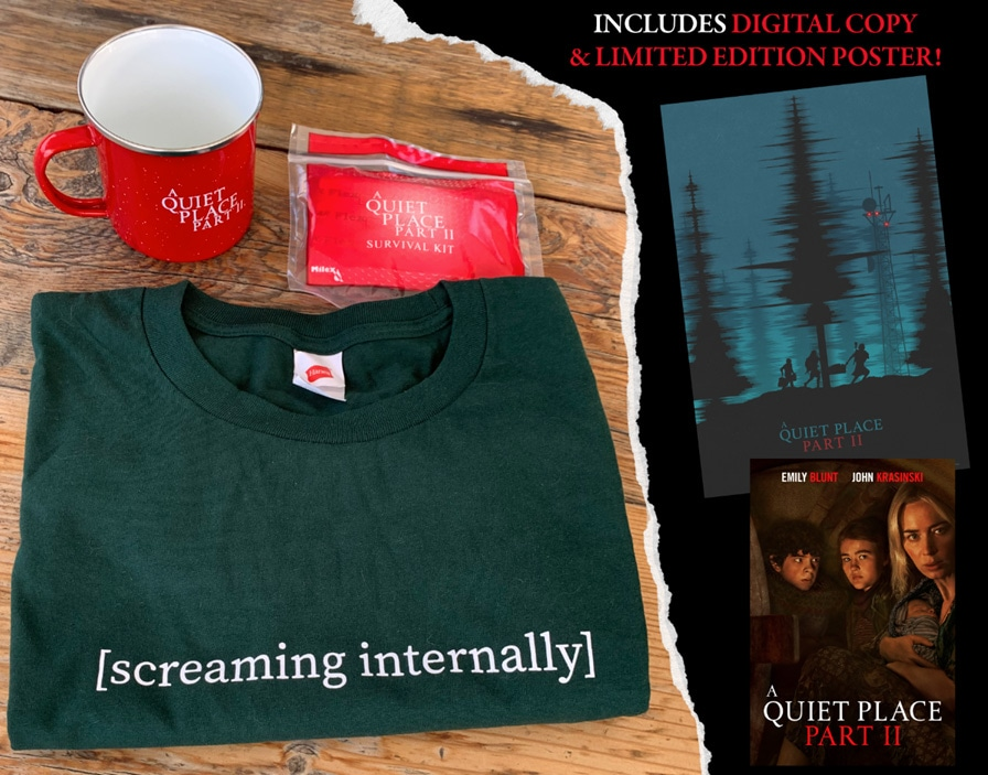 Enter to win a Quiet Place Part II Prize Pack consisting of a digital code of the movie, T-Shirt, Mug, and a Poster. 3 Winners!  See the exclusions Giveaway Image