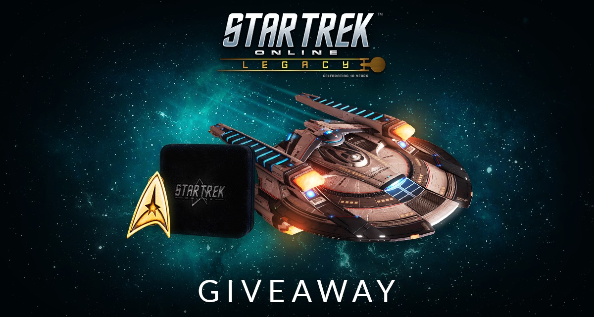 Enter to win an Anniversary Badge and content pack, or a free starship, from Star Trek Online. Giveaway Image