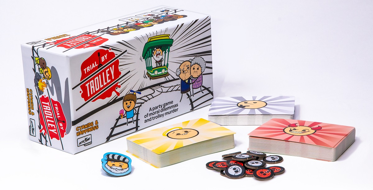 Enter to win the card game Trial by Trolley from the minds at Cyanide & Happiness Giveaway Image