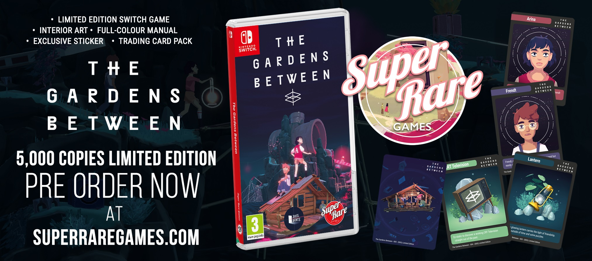 Enter into Dtoid Contest to win a copy of physical edition of The Gardens Between for Nintendo Switch from Super Rare Games. Giveaway Image