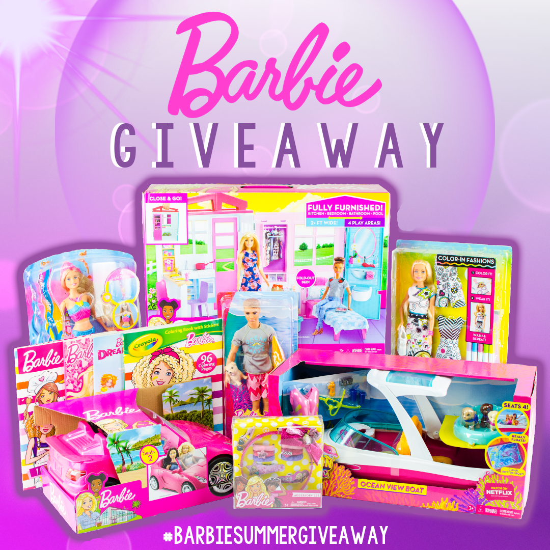 Enter for a chance to win Barbie Doll House Playset, Barbie Dolphin Magic Ocean View Boat Playset, Barbie Glam Convertible, Barbie Crayola Color-in Fashions Doll, Barbie Rainbow Lights Mermaid Doll, Barbie Dolphin Magic Ken Doll and more Giveaway Image