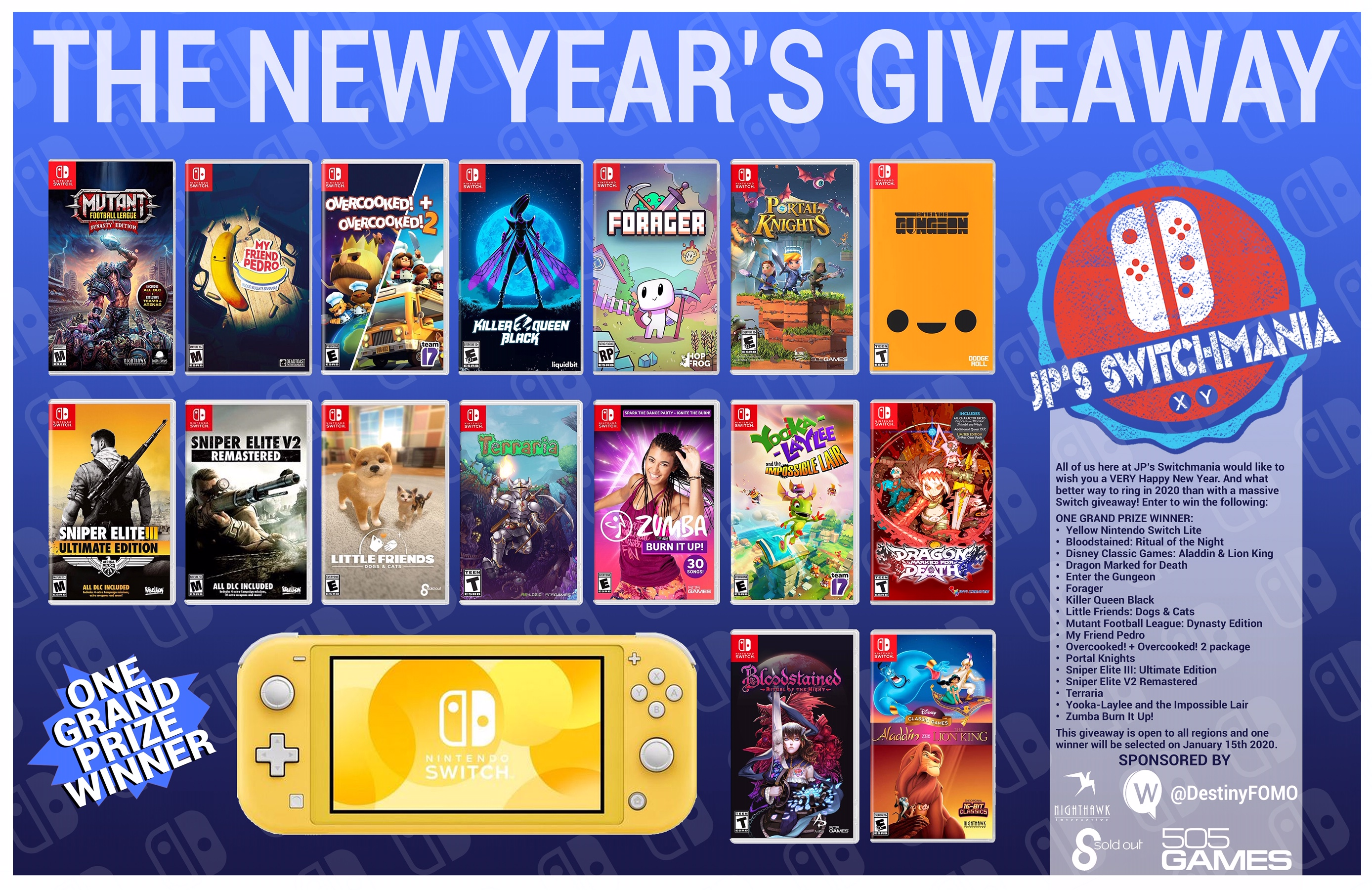 Nintendo Switch Lite + 16 physical games Giveaway Image