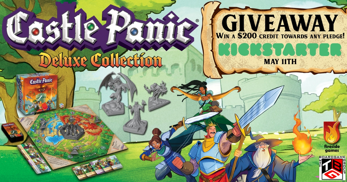 Enter to win a copy of Castle Panic Deluxe Collection from Fireside Games. Castle Panic is a cooperative tower defense tabletop game. The Deluxe edition contains all its expansions with miniatures, new art, and more. Giveaway Image