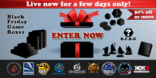 Enter to win the Black Friday Game Box -- 6 Tabletop Games, 2 accessories with promos and other loot. Giveaway Image
