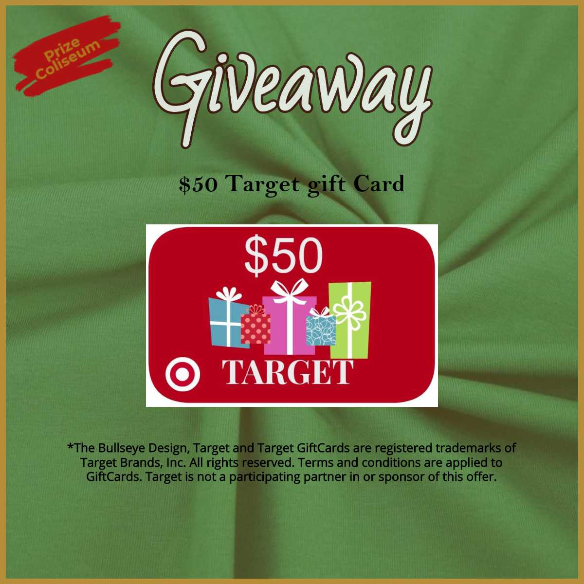 Enter for a chance to win a $50 Target Gift Card from PrizeColiseum Giveaway Image