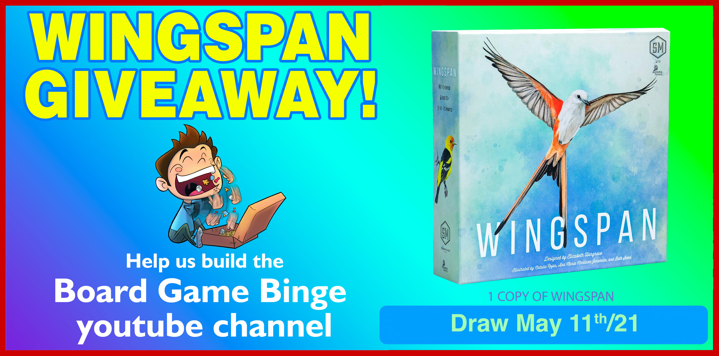 Enter to win a copy of the Wingspan Board Game. $65 Value.  See Rules for exclusions Giveaway Image