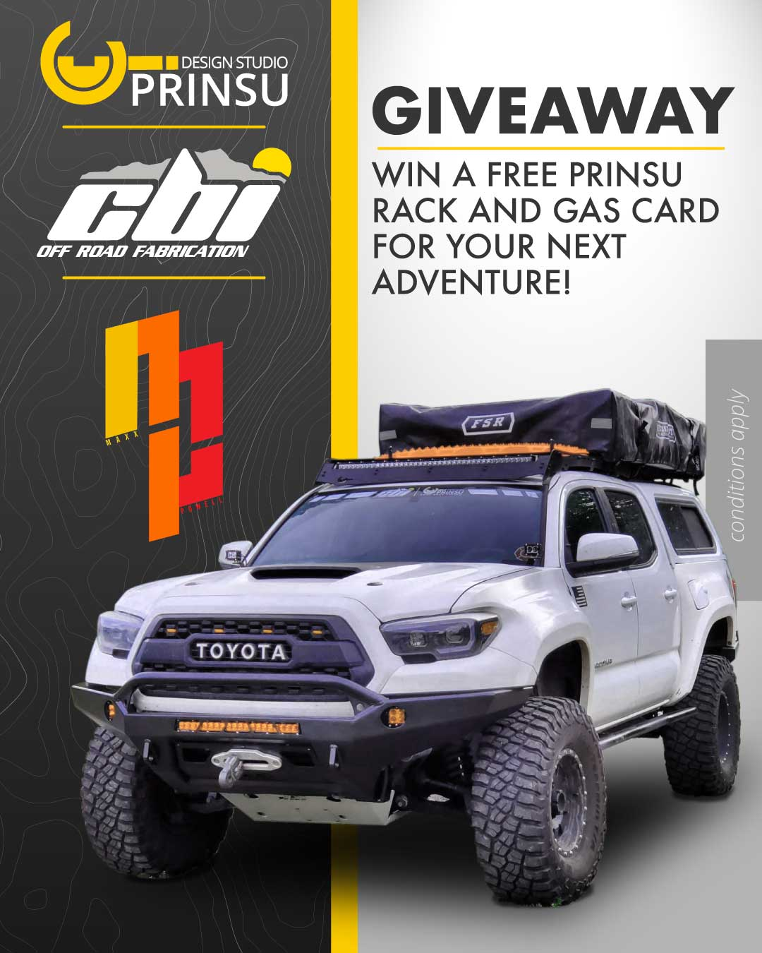 Enter to win the Prinsu Design Studio Roof Rack and Gas Card Giveaway Image