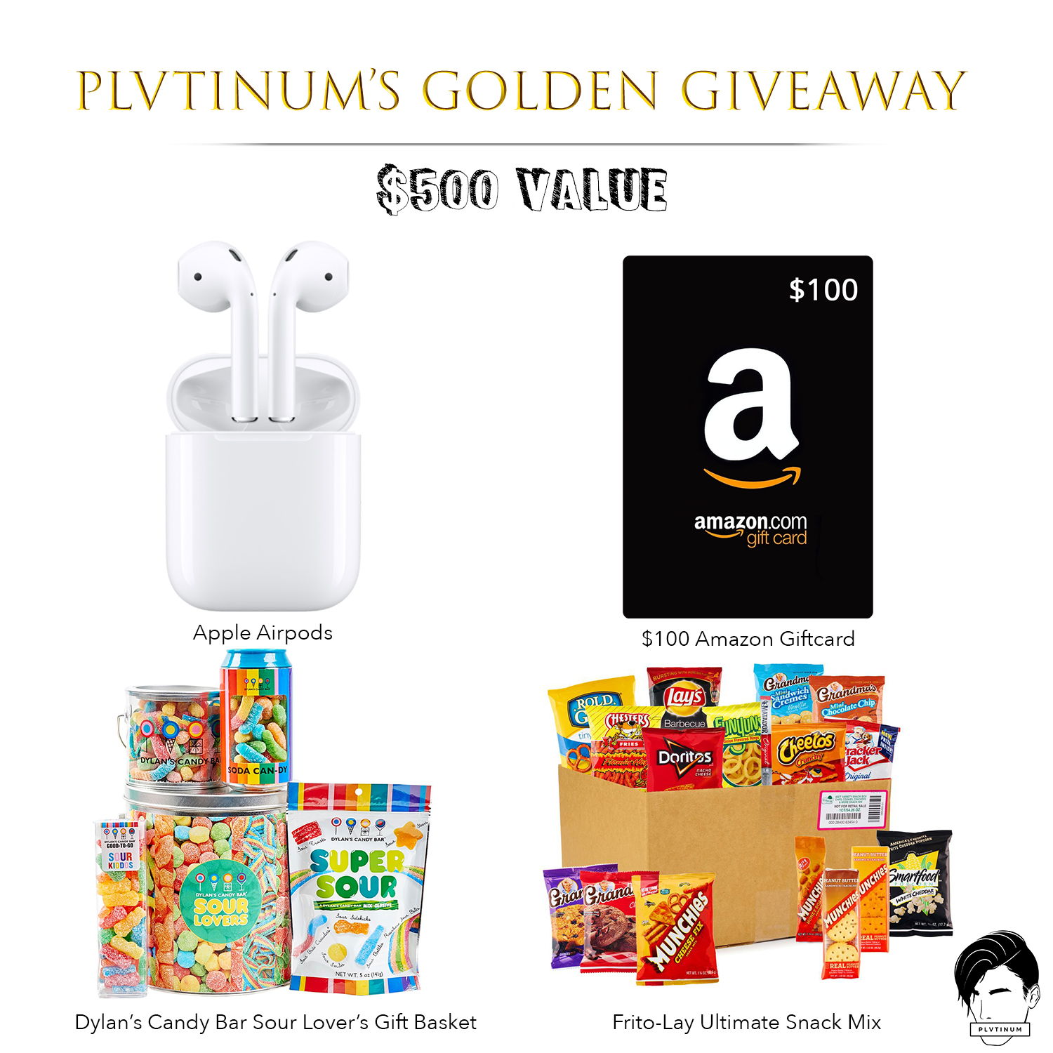 Win Apple AirPods, Dylan's Candy Bar Sour Lover's Basket, Frito-Lays Ultimate Snack Mix and a $100 Amazon Gift Card [a $500 value]???? Giveaway Image