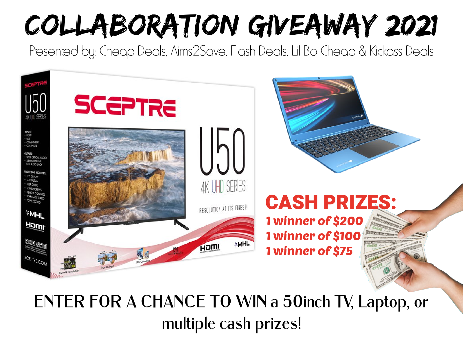 50inch TV, Laptop or CASH. Collaboration Giveaway 2021 Giveaway Image