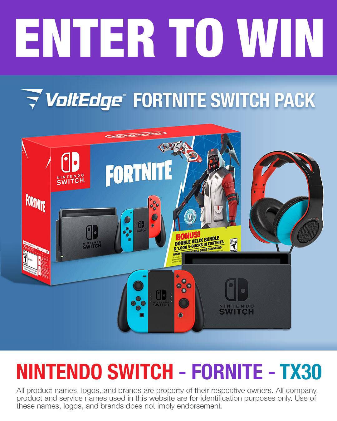 Win a Nintendo Switch Fortnite Console Bundle Giveaway Image