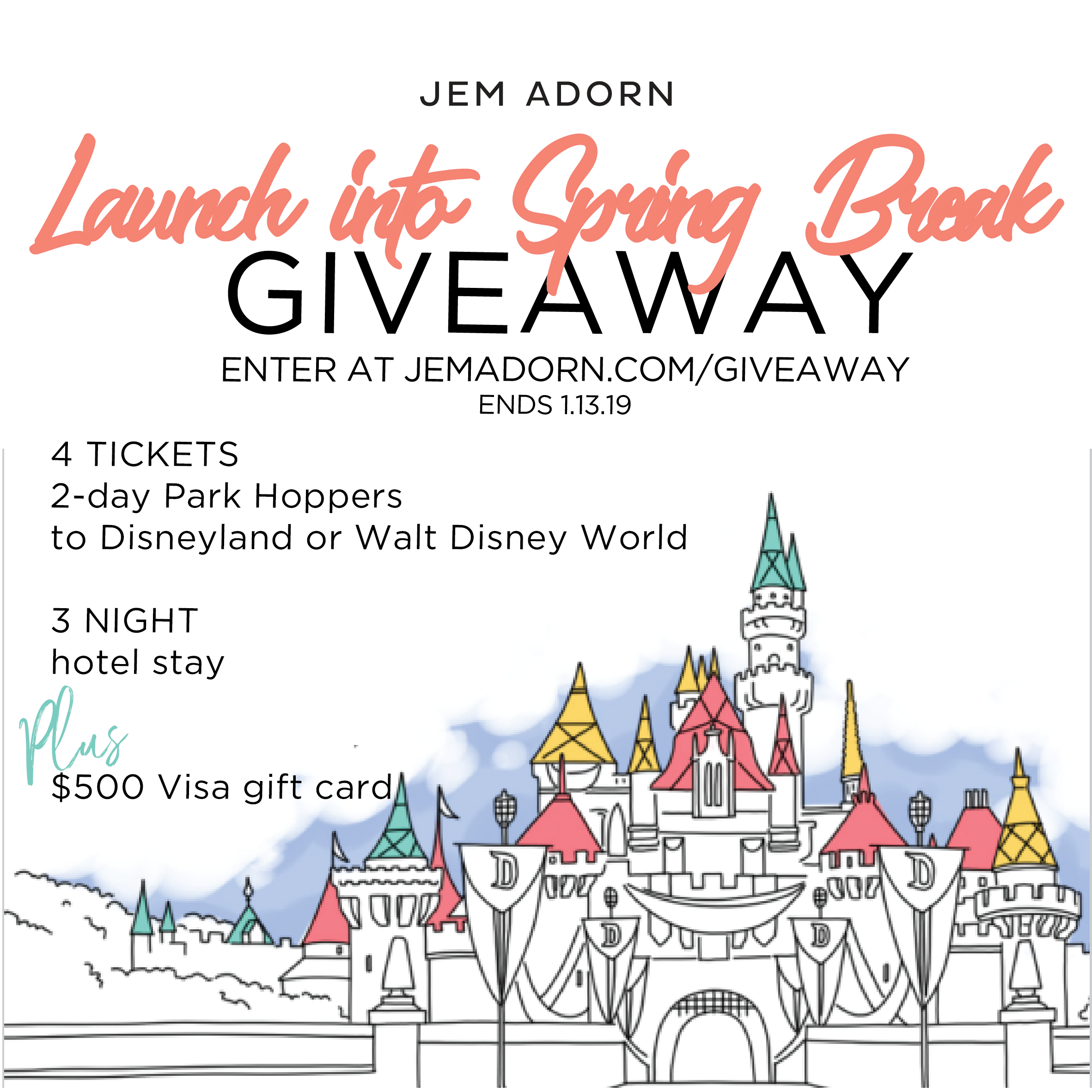 Win a $500 Visa Gift Card, 4x 2 Day Disney World or Land Park Hopper Tickets, 3 night hotel accommodations Giveaway Image