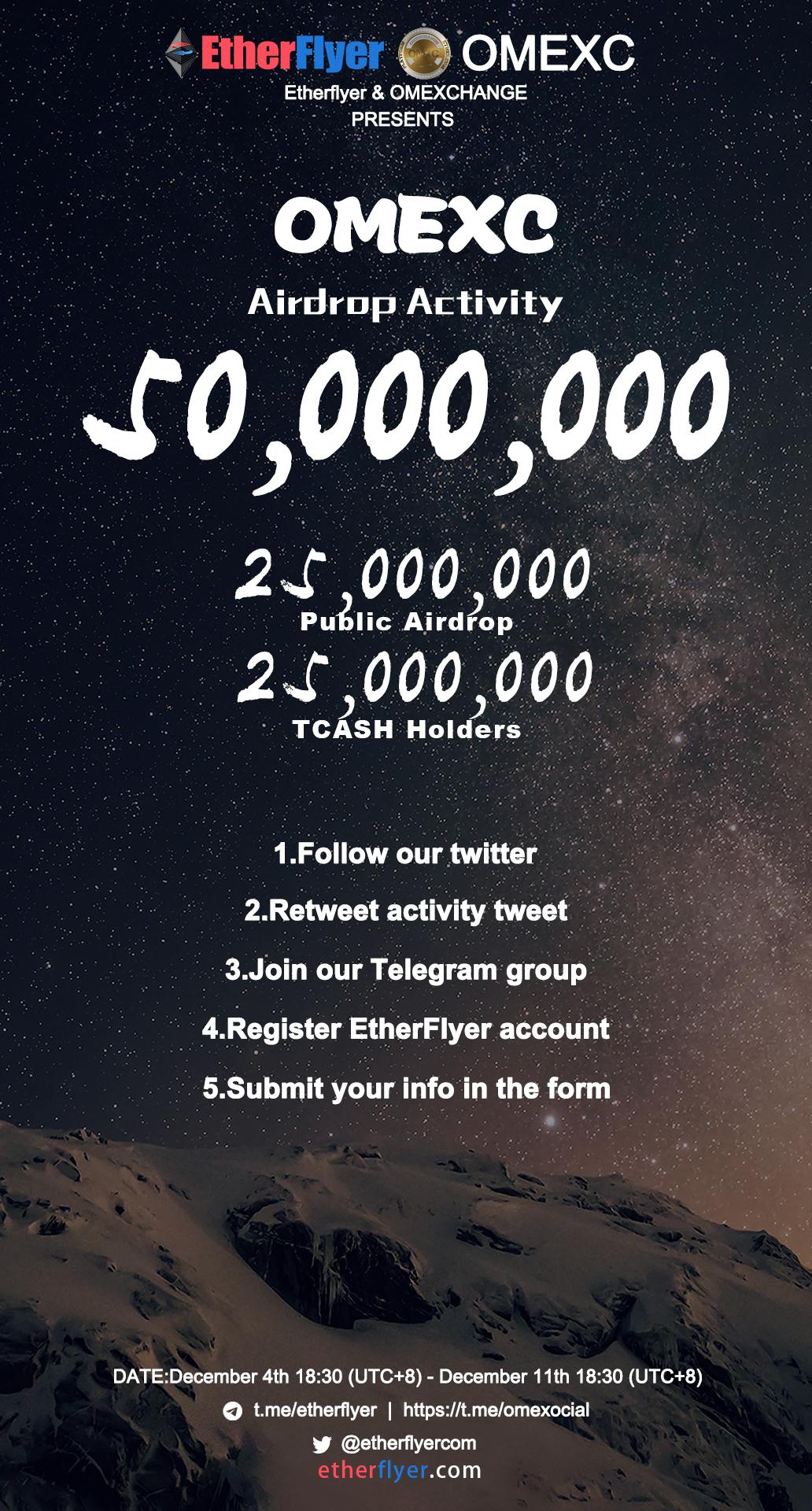 50,000,000 OMEXC Token Giveaway From Etherflyer Exchange — WeKu