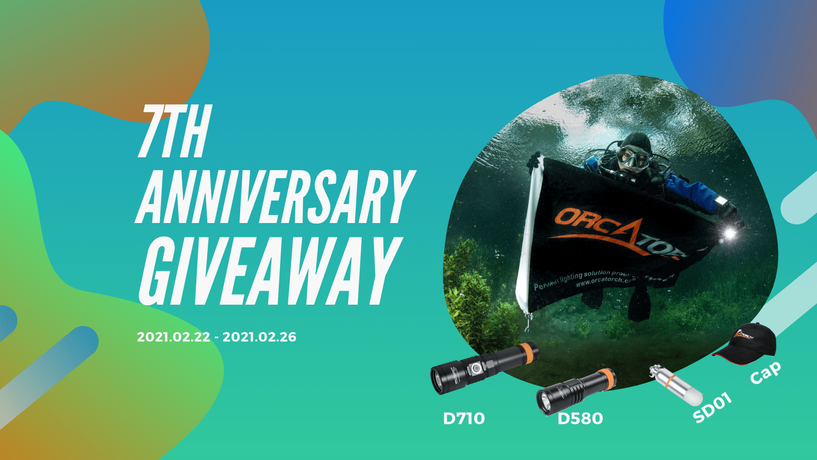 7 PRIZES! one D710 dive light, one D580 dive light, two SD01 dive beacons, and three OrcaTorch caps Giveaway Image
