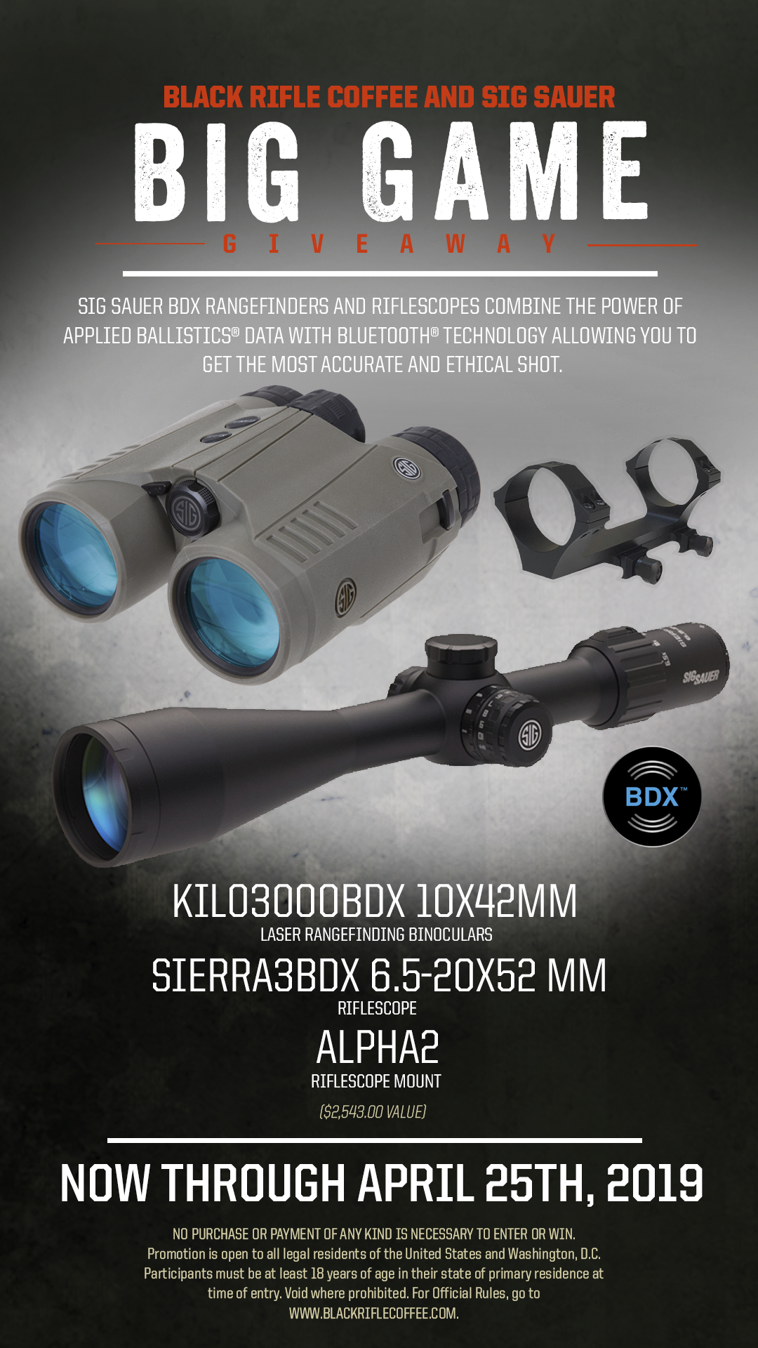 Enter for a chance to win Kilo3000BDX 10x42mm Laser Rangefinding Binoculars, Sierra3BDX 6.5-20x52 Riflescope and Alpha2 Riflescope Mount from Black Rifle Coffee Company Giveaway Image