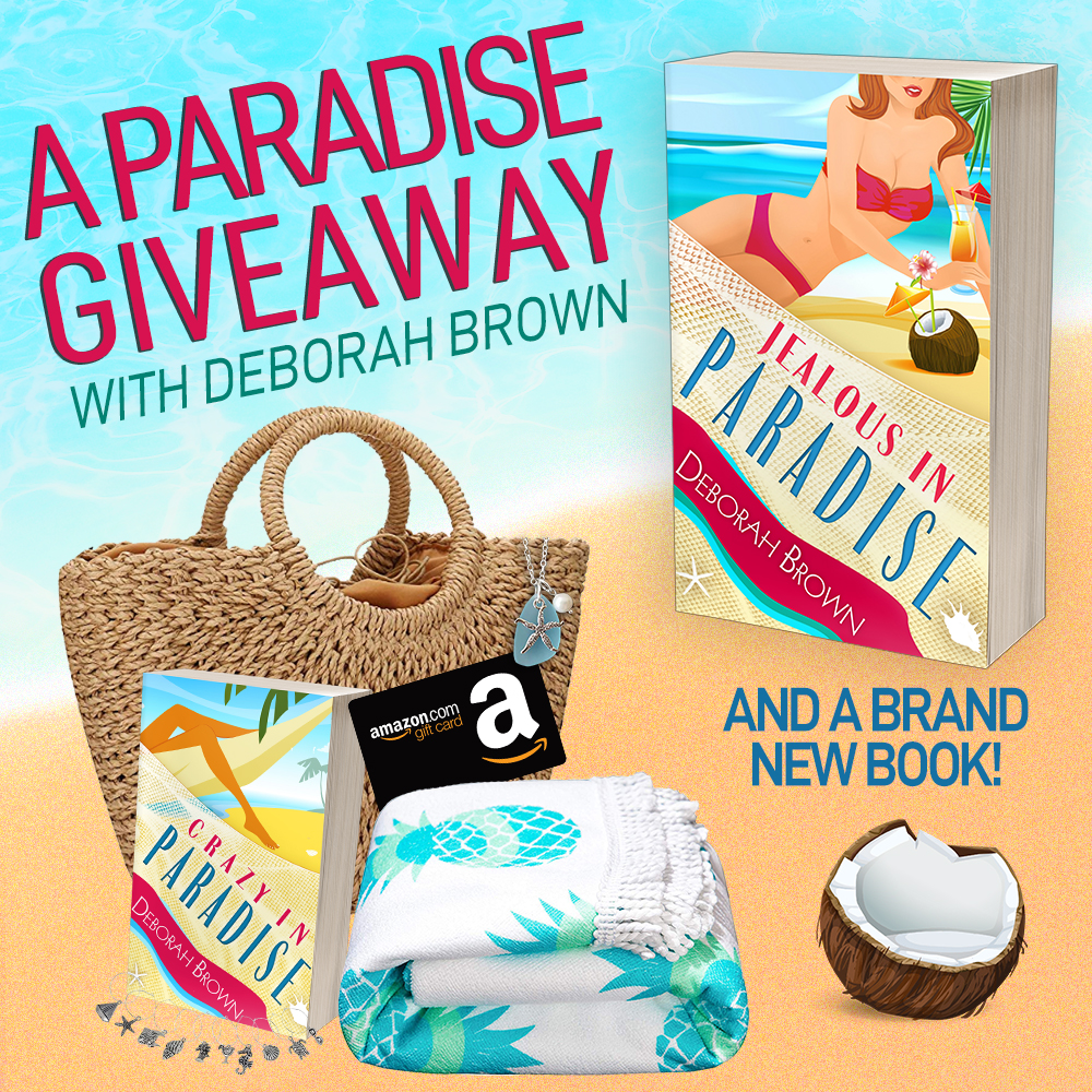 Enter for a chance to win a $75 Amazon Gift Card, signed paperback, wine glass charms, a sea glass necklace, a beach towel and a beach bag from author Deborah Brown Giveaway Image