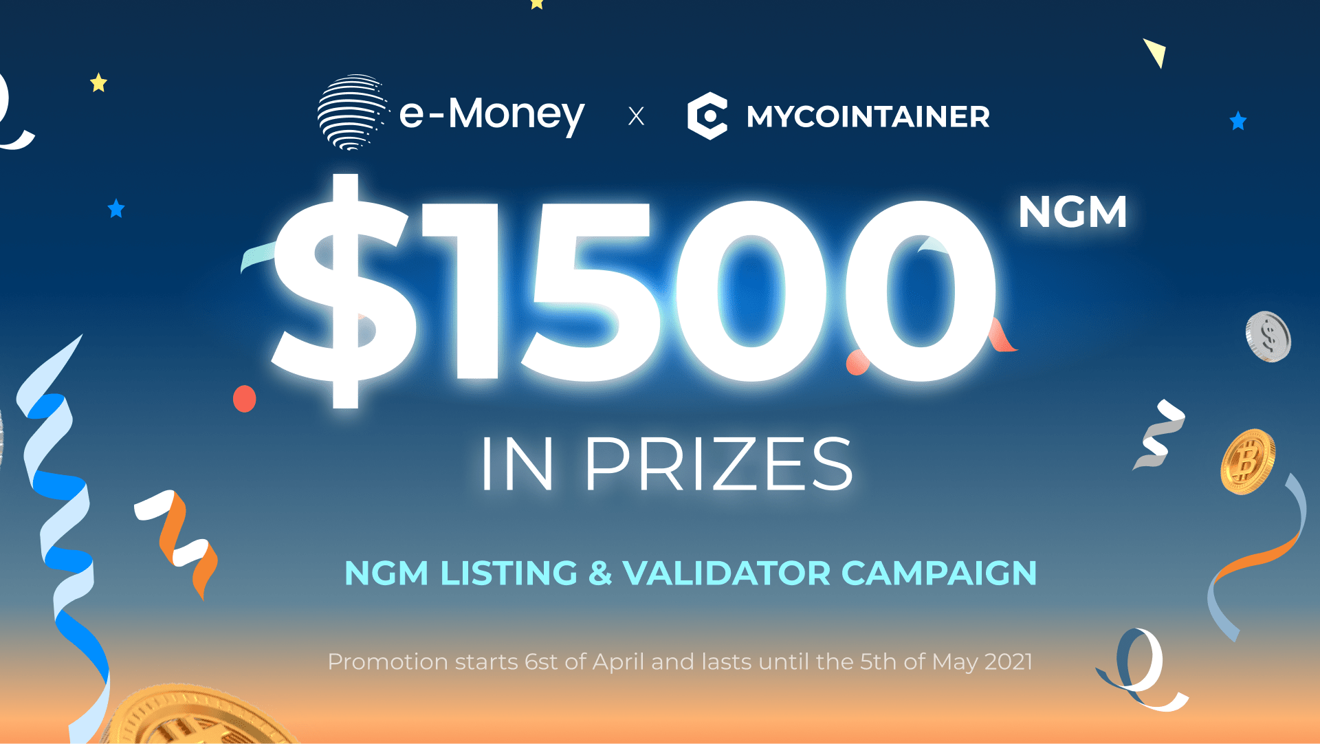 $1,500 E-Money (NGM) BY MYCOINTAINER GIVEAWAY Giveaway Image